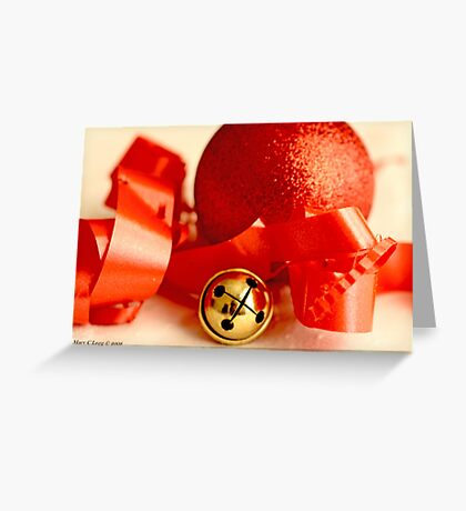 Red Christmas ball with small jingle bell and red ribbon Greeting Card