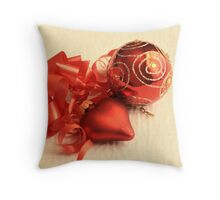 Red Christmas ball with red satin glass heart with red ribbon on white damask linen Throw Pillow
