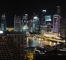 Singapore Night Panorama Cityscapes by hariskalin