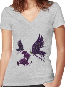 Butterflies and Carnations Women's Fitted V-Neck T-Shirt