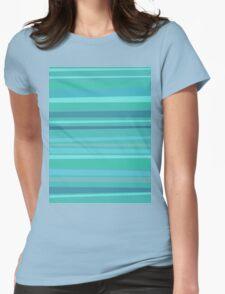 Aqua Stripes Womens Fitted T-Shirt