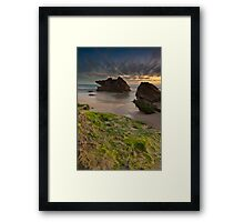 Two Rocks, Green Moss and the Blue hour !! Framed Print