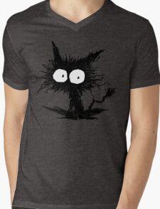 Black Unkempt Kitten GabiGabi Mens V-Neck T-Shirt