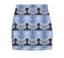 Blue and Black Floral  Mini Skirt