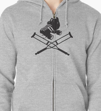 Roller Derby Crutches Zipped Hoodie