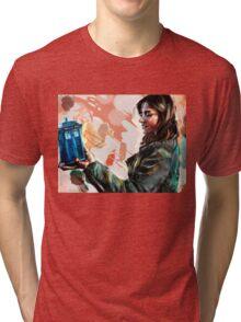Clara Oswald and The Tiny TARDIS Tri-blend T-Shirt