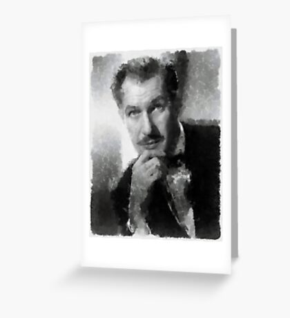 Vincent Price by John Springfield Greeting Card