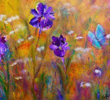 Iris, Wildflowers and Butterfly by Claire Bull
