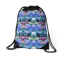 Modern Flower Print Drawstring Bag