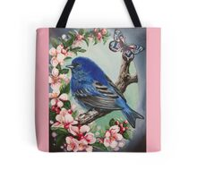 Blue bird cherry blossom flower spring Tote Bag