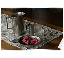 Pewter and faded roses Poster