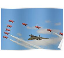 The Red Arrows with Avro Vulcan XH558 Poster