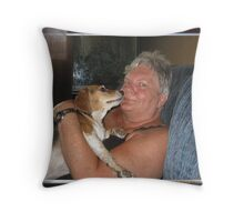 Granny Getting Kisses Throw Pillow