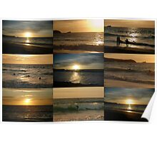 Sunsetting Surfers Poster