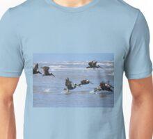 Brown Pelicans in Flight Unisex T-Shirt