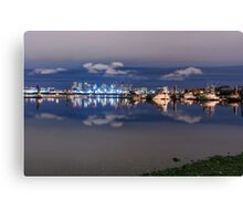 Boats and skyline Canvas Print