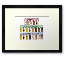 Cats celebrating birthdays on July 21st Framed Print