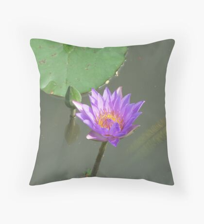 Beautiful Purple Water Lilly Throw Pillow