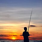 Fishing Sunset by Komang