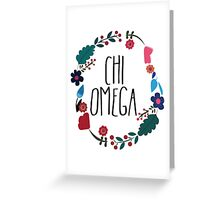Chi Omega Flower Wreath Greeting Card