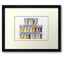 Cats celebrating birthdays on November 19th Framed Print