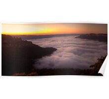 Cloud Surfing - Blue Mountains World Heritage Area, Sydney (15 Exposure HDR Panorama) - The HDR Experience Poster