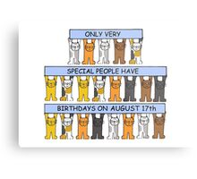 Cats celebrating a birthday on August 17th. Metal Print