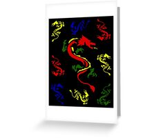 Plethora of Coloured Dragons Greeting Card