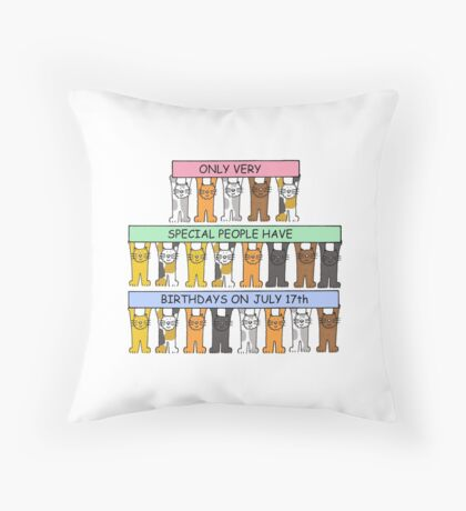Cats celebrating a July 17th Birthday. Throw Pillow