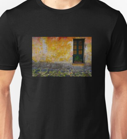 Old window with a plant in Colonia del Sacramento, Uruguay Unisex T-Shirt
