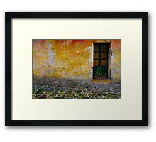 Old window with a plant in Colonia del Sacramento, Uruguay Framed Print