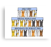 Cats celebrating a birthday on August 28th Canvas Print