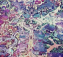 Galaxy Vintage Disneyland Map by jlie3