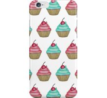 Cute Pink & Blue Cupcake with Cherry on Top iPhone Case/Skin