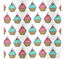 Cute Pink & Blue Cupcake with Cherry on Top Poster