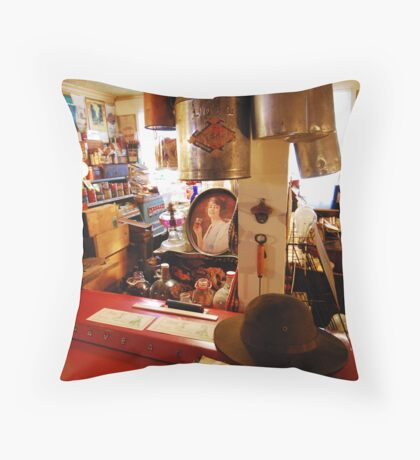 Store with Hat Throw Pillow