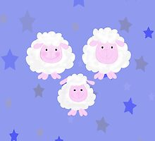 Lovely family sheep with blue stars by MNA-Art