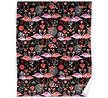 beautiful pattern lovers flamingos Poster