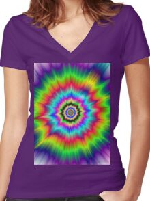 Psychedelic Explosion Women's Fitted V-Neck T-Shirt