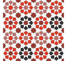 Red Color Tiles Photographic Print