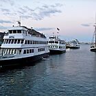 Ferries Docked at the Long Wharf - Boston  by Jack McCabe