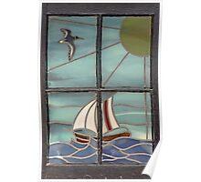 World from a Window - Portmahomack, Scottish Highlands, Scotland, UK, Europe Poster