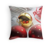 Red and gold Christmas balls on table linen Throw Pillow
