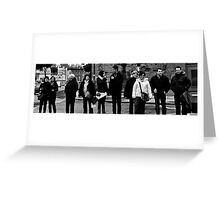 People waiting to cross the road, black and white Greeting Card