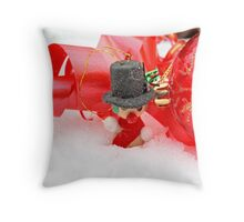 Snowman with red Christmas ball on snow Throw Pillow