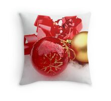 Red  and gold ball in snow Throw Pillow