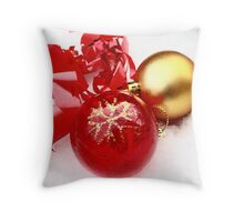 Red and gold Christmas balls in snow Throw Pillow