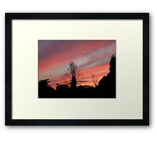 The Willow tree in Red Framed Print