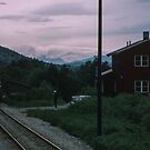 Northbound train arrives for manual block control by train Bodo to Trondheim 198406210007 by Fred Mitchell