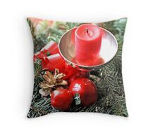 Red candle and Christmas ornaments Throw Pillow